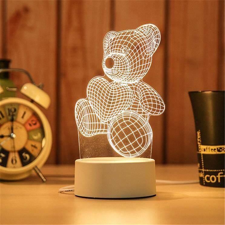 3D Optical Illusion LED Table Night Light(Teddy Bear)
