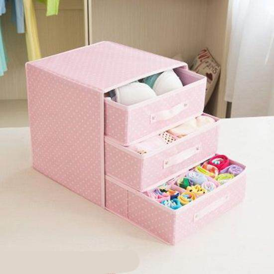 Heighten drawer socks underwear storage box home release bra fabric box Oxford cloth storage box
