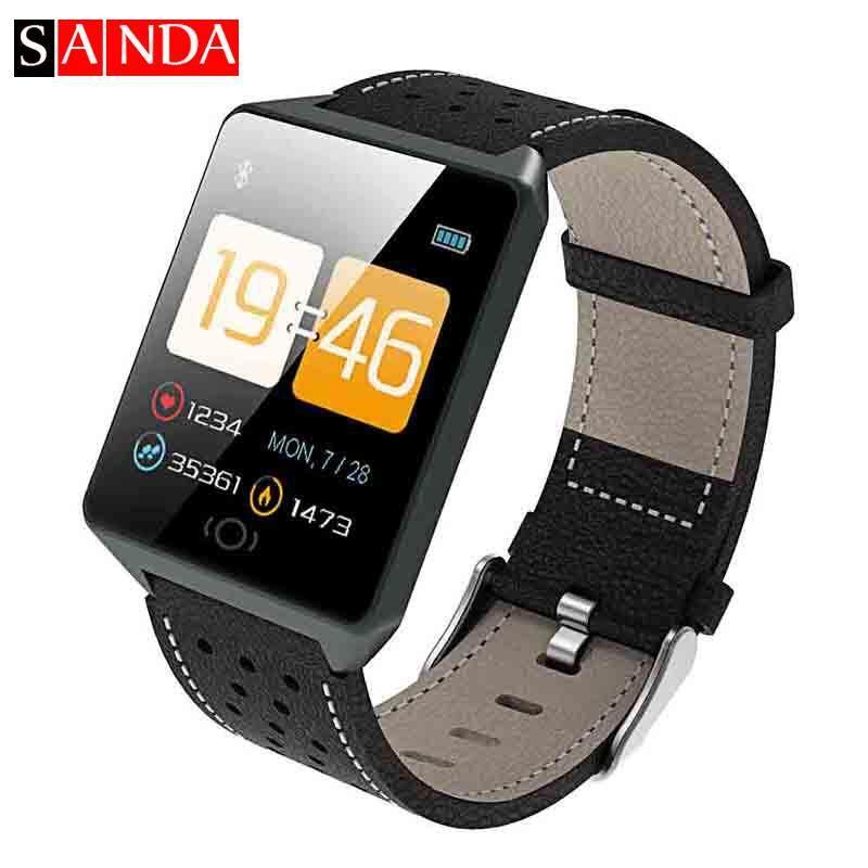 Jam Tangan Pintar dengan Bluetooth Sanda CK19 Kulit Asli Tali Magnetic Pengisian Layar Sentuh Monitor Denyut Jantung Smartwatch