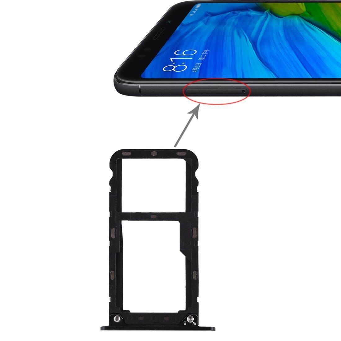 2 Kartu SIM/Micro Tray SD Card untuk Xiaomi Redmi 5 Plus (Hitam)