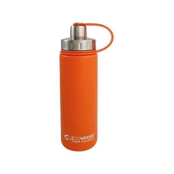 EcoVessel BOULDER TriMax Dual Opening Insulated Stainless Steel Water Bottle with Tea - Fruit and Ice Strainer - 20 oz. - Orange Blast - intl