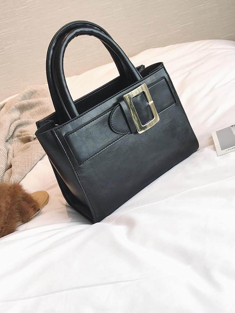Wanita Tas Kulit Minyak Lilin Tas Daftar Bahu Cenderung Map Murni Warna Perjalanan Tas Wanita Sabuk Kulit untuk Mendekorasi Besar tas Sepanjang Tahun (Hitam)