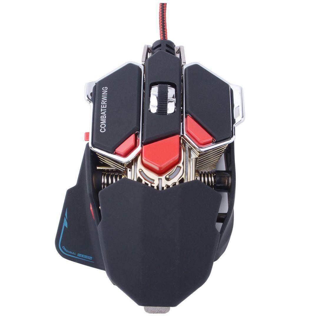 Combaterwing USB 4800 Dpi 10 Tombol LED Optik Mouse Gaming untuk PC dan Laptop-Hitam dan Merah-Intl