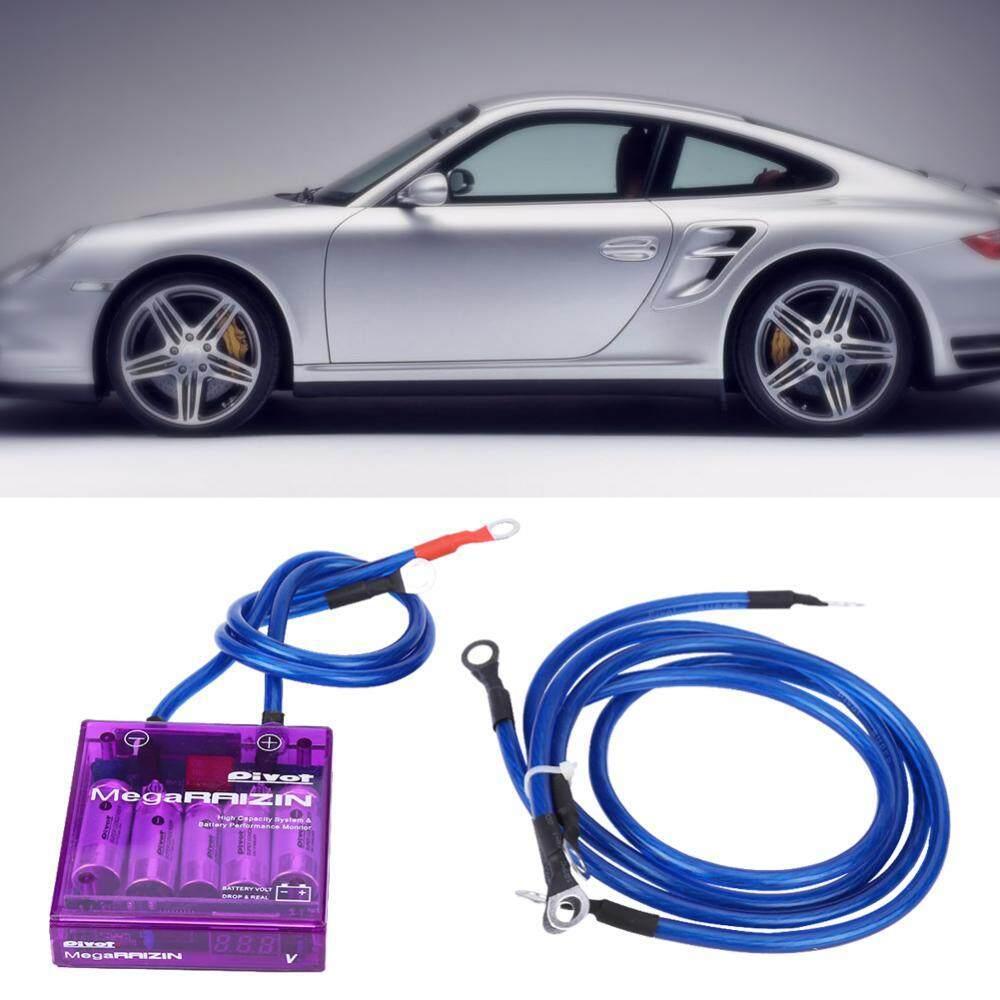 Voltage Regulator Universal Fuel Saver Voltage Stabilizer Regulator Kit W/ 3 Earth Ground Cables Purple - intl
