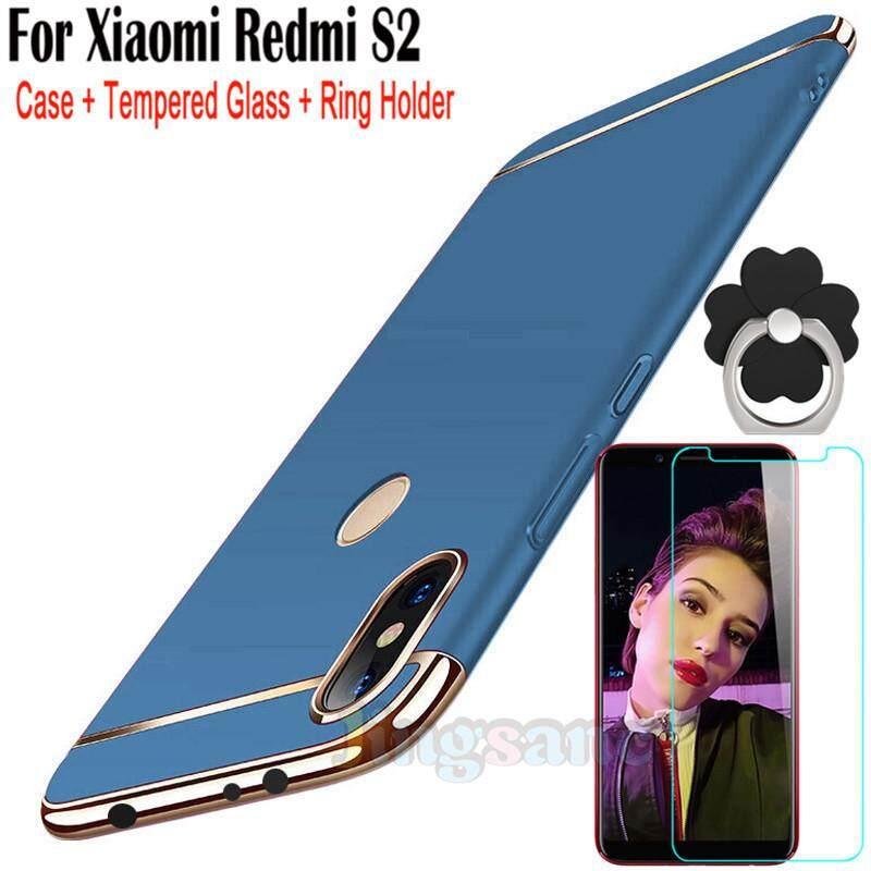Untuk Xiaomi Redmi S2 [Casing Ponsel + Dudukan Cincin + Kaca Antigores] Luxury 3 In1 Desain Matte Hard Edge Bumper Pelapis kembali Ke Shell Casing Kover Stok Tersedia-Intl