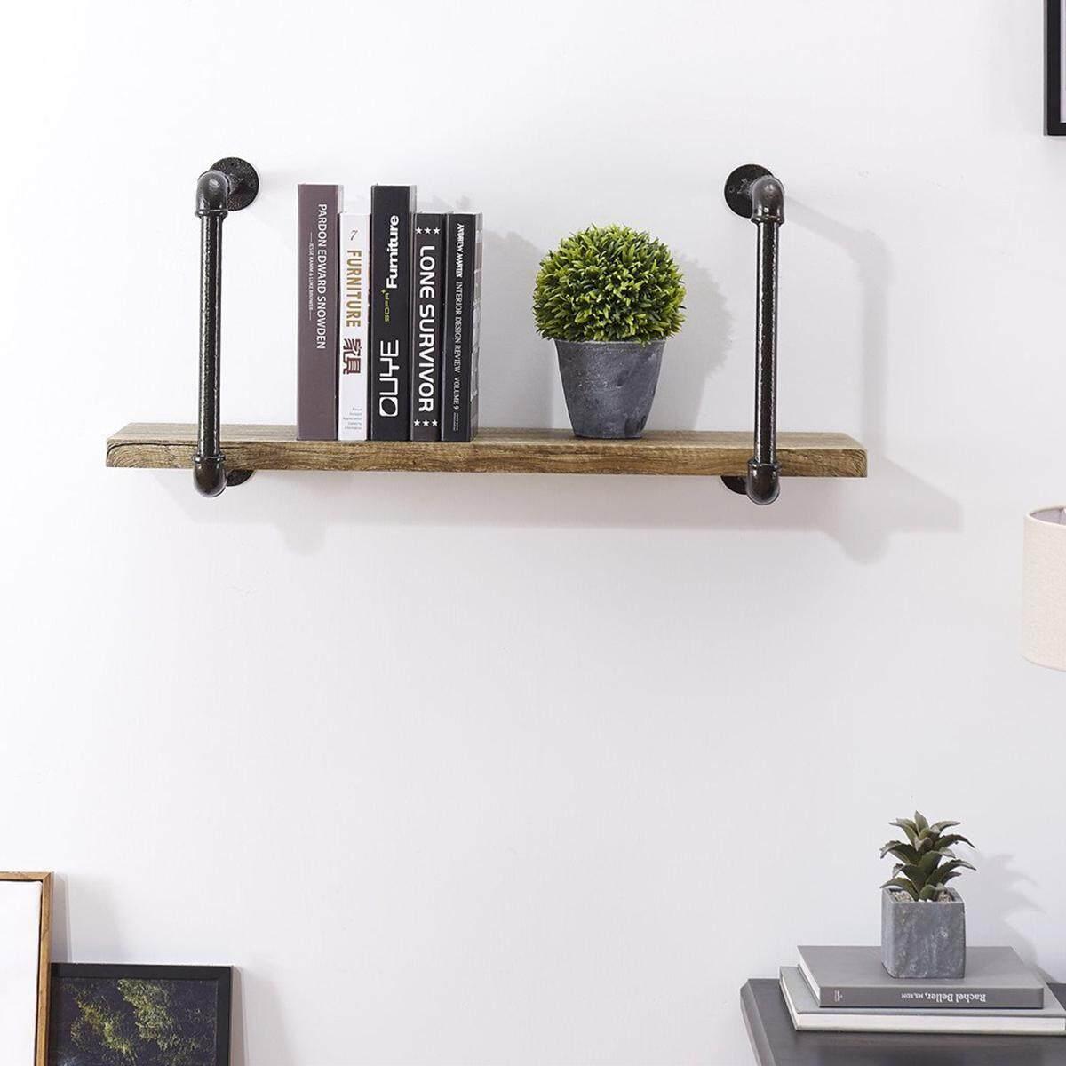 Rustic Wood Iron Pipe Frame Floating Shelving Shelf Rack Wall Mounted Storage