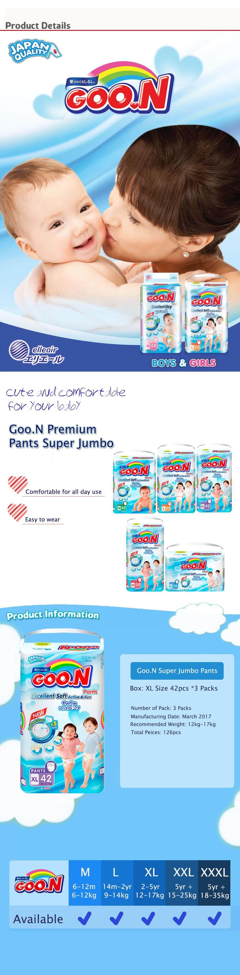 Goo N Diaper Pants Excellent Soft Active Xl22 Spec Dan Daftar Goon Dry Premium Tape Super Jumbo Xl Isi 50 Size 42pcs X3 Pack
