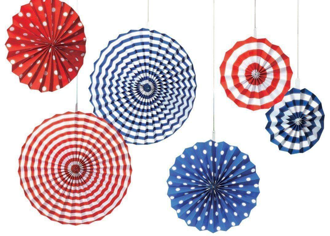 Amscan Fourth of July Party Stars & Stripes Hanging Fan Decoration (6 Piece), Red/White/Blue, 13 x 11`