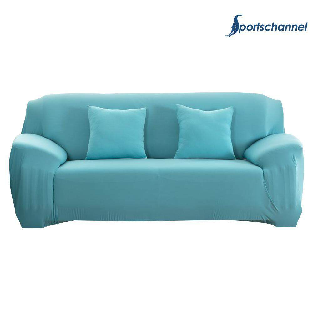 Pure Color Slipcover Stretchable Sofa Cushion Cover Sky Blue(Blue)-2 seats