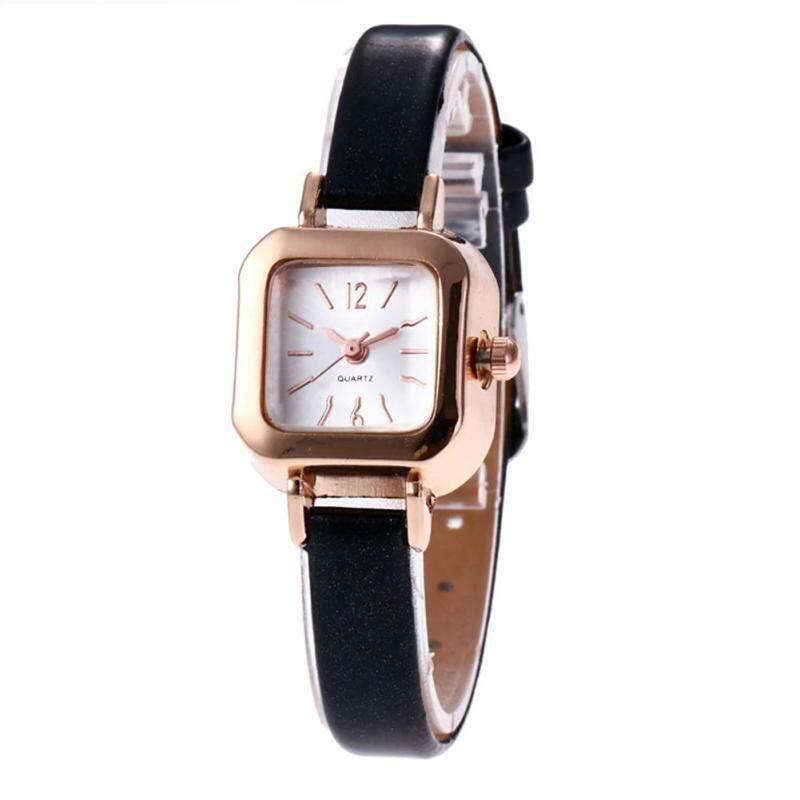 Vintage Square Dial Women Quartz Solid Color Faux Leather Strap Wrist Watch (Black) Malaysia