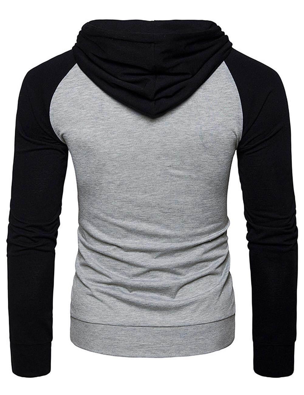 LB Men Crewneck Sweatshirt Casual Stitching Hoodies Long Sleeve Slim Pullover - 3