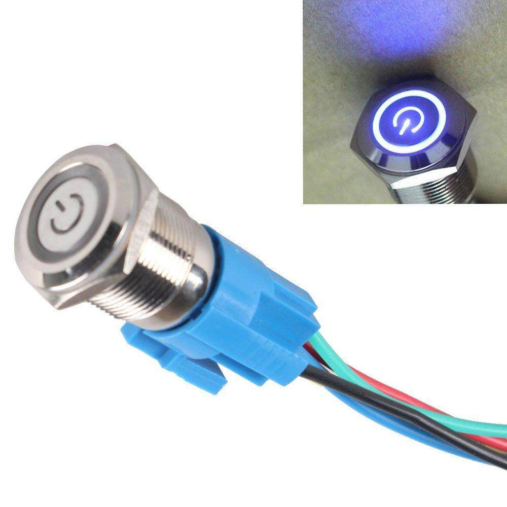 Buy Sell Cheapest 16mm Blue Led Best Quality Product Deals 12v Push Button Selflock Switch Square Light Momentary Latching Car Lamp Power Symbol Angle Eye Metal Toggle