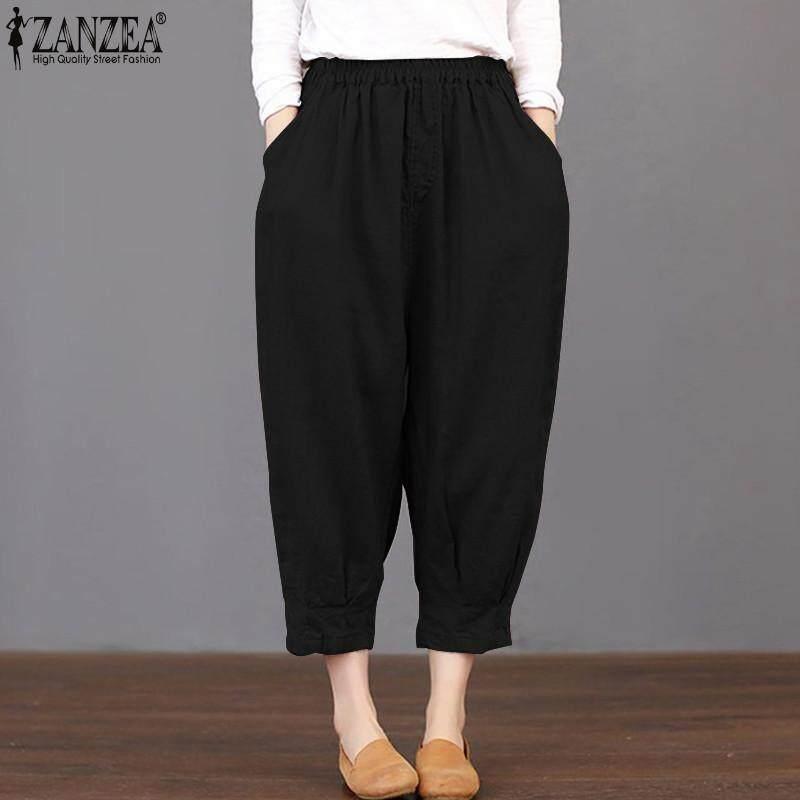 18b8c3d9ef5 ZANZEA Women Basic Loose High Waist Pants Capris Cropped Plus Size Trousers  - intl