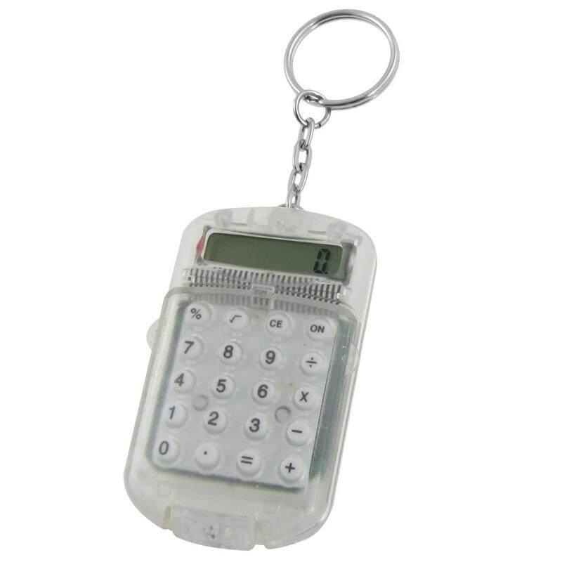 Plastik Bening Casing 8 Digit Elektronik Kalkulator Mini W Gantungan Kunci -Intl