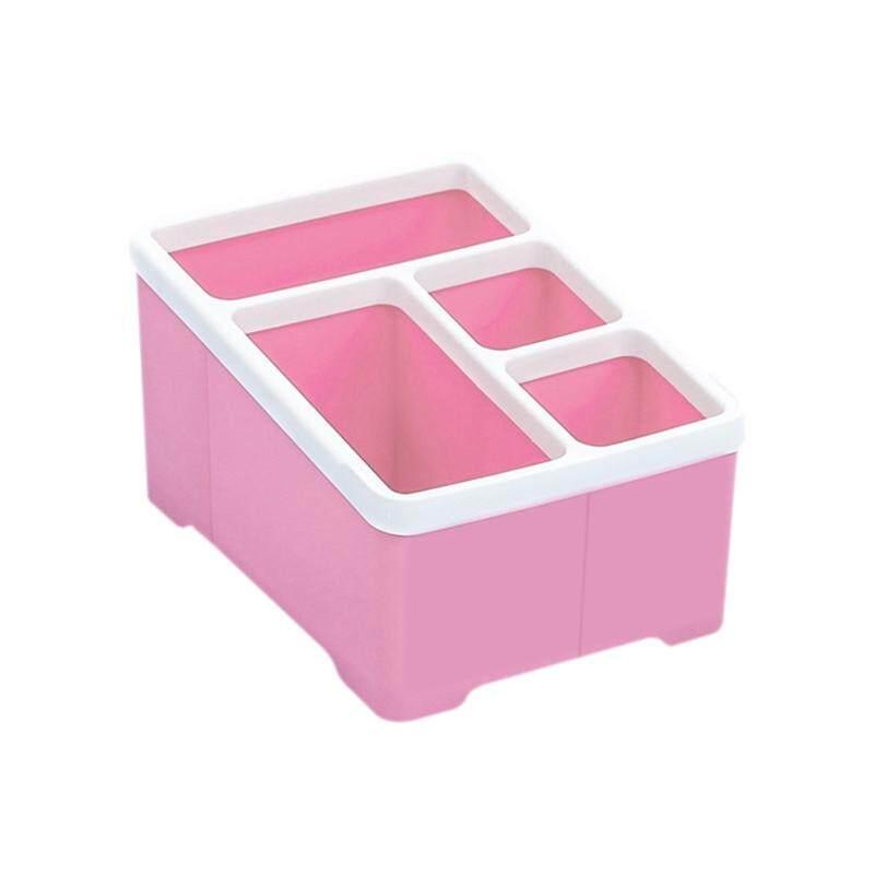 Meja Multifungsi Organizer 4 Slot Desktop Kotak Penyimpanan Pena Case Tas Penyimpan Pensil Kosmetik Plastik Make