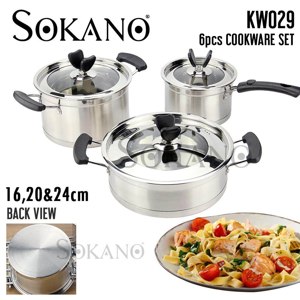 (RAYA 2019) SOKANO KW029 6pcs Cookware Set 16,20,24CM Premium High Quality Stainless Steel Pot With Transparent Glass Lid