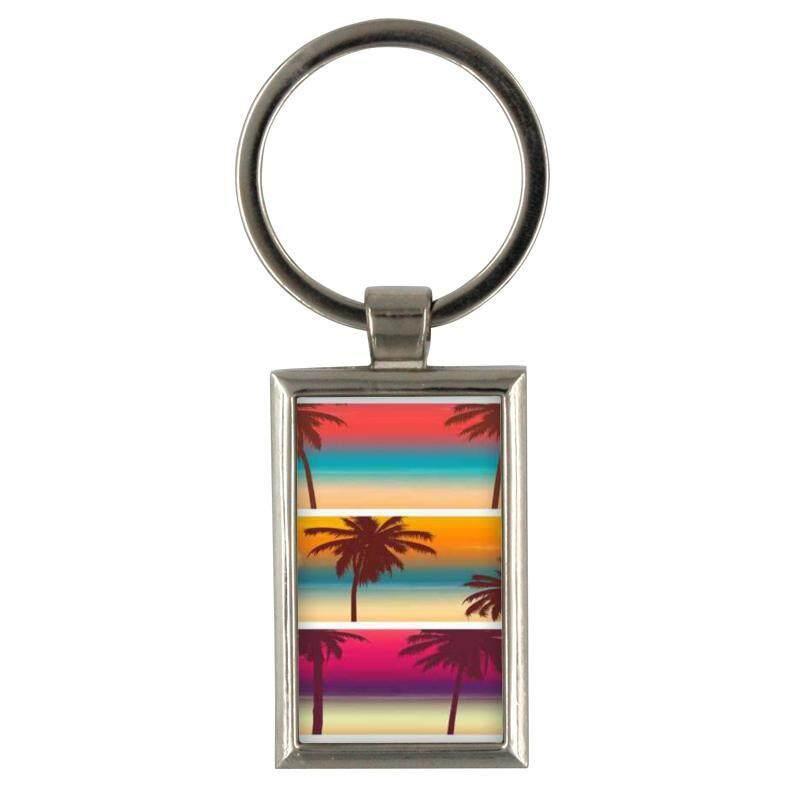 Harga gantungan kunci spanduk wisata dengan pohon palem untuk gantungan kunci pria kreatif logam paduan keyfob