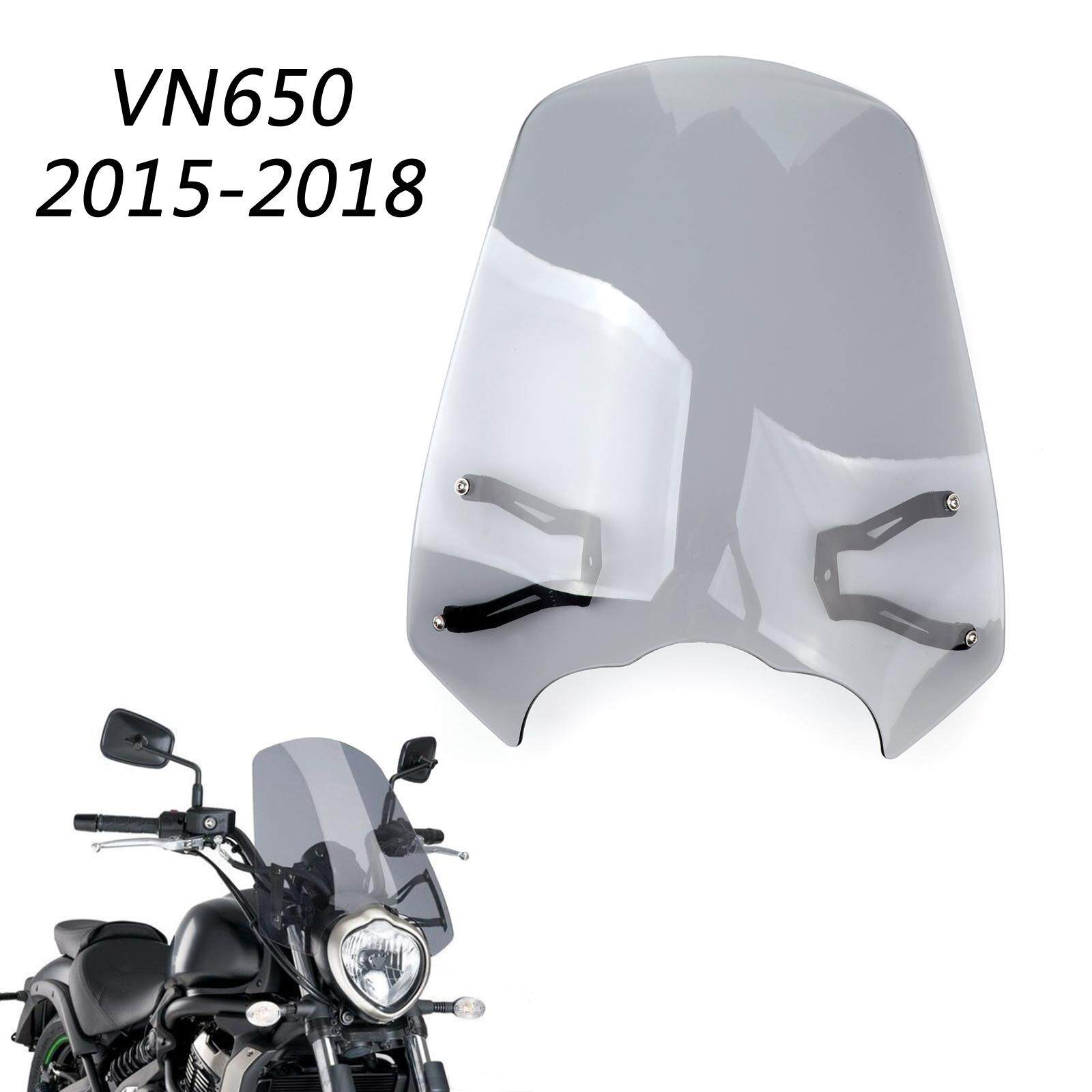 Areyourshop Windscreen Windshield Screen w/Bracket For Kawasaki VN650  Vulcan S EN 650 2015-2018 Grey