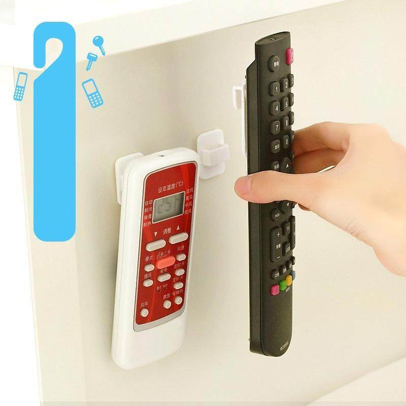 2set/4pcs Wall Mounted Remote Control Storage Hook Plastic Sticky Hooks Holder for TV Air Conditioner