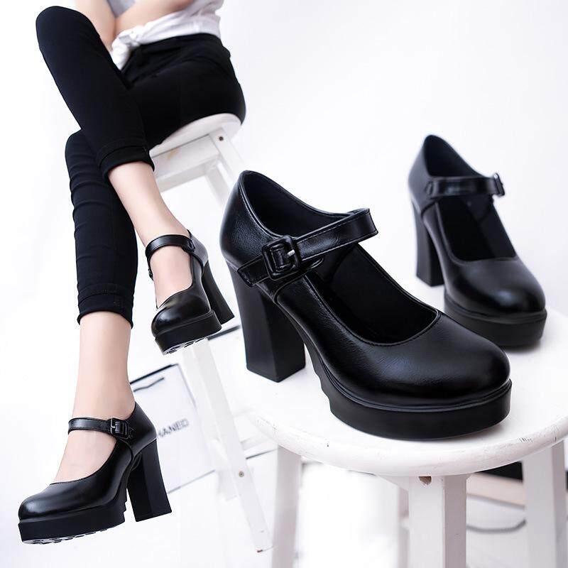 Women's Platform Work Shoes Lady Black High Heels Shoes Female Shallow Mouth Pumps