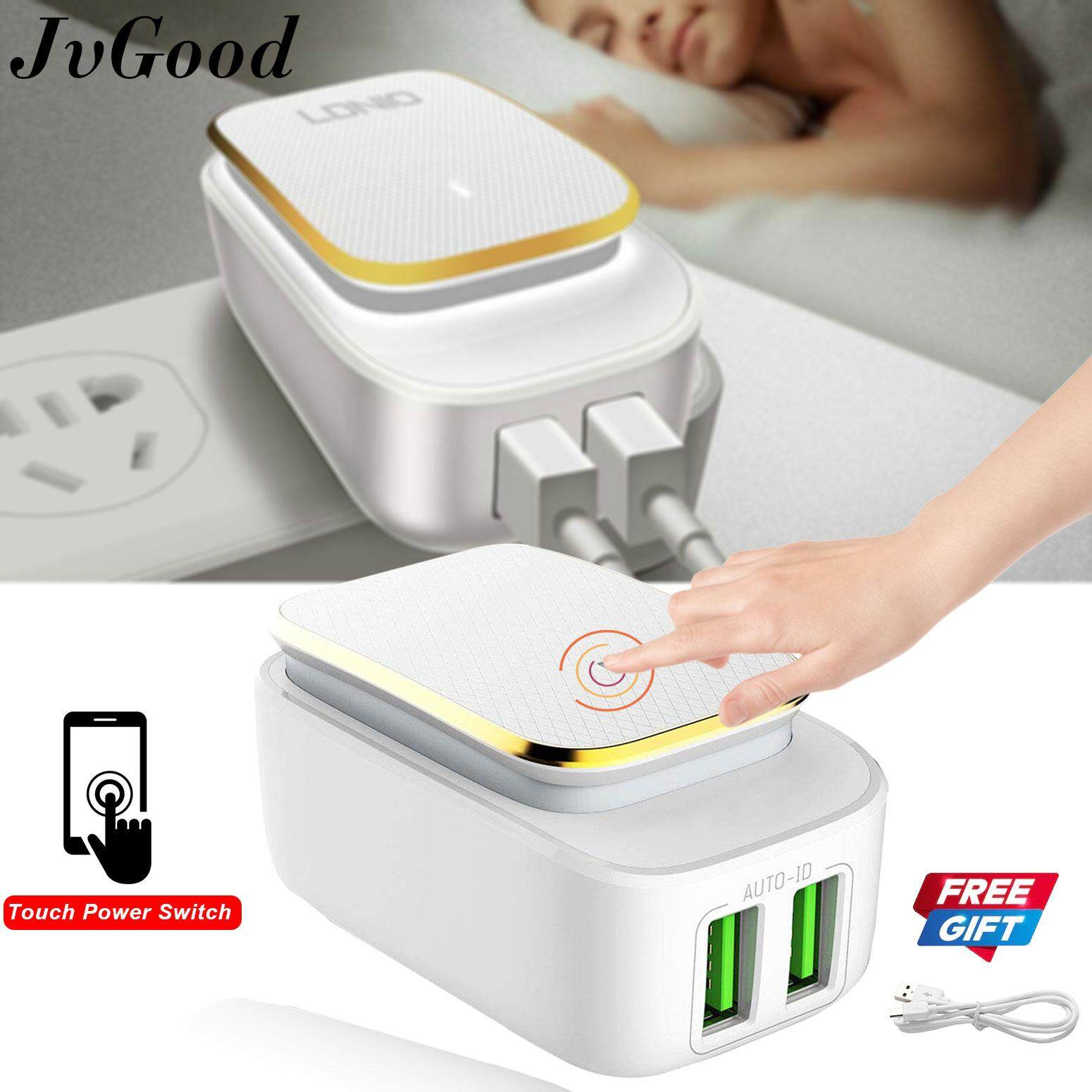 Jvgood Touch Led Lamp And 5v/2.4a 2 Usb Charger Travel Wall Charger Adapter 12w Portable Smart Mobile Phone Home Charger With A Free Android Charging Cable By Jvgood.