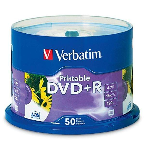 Blank Media Verbatim 4.7GB up to 16x White Inkjet Printable Recordable Disc DVD+R, 50-Disc Spindle 95136 - intl