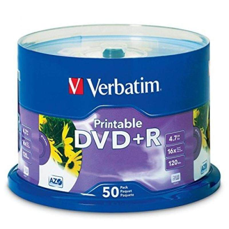 Blank Media Verbatim 4.7GB up to 16x White Inkjet Printable Recordable Disc DVD+R, 50-Disc Spindle 95136 - intl