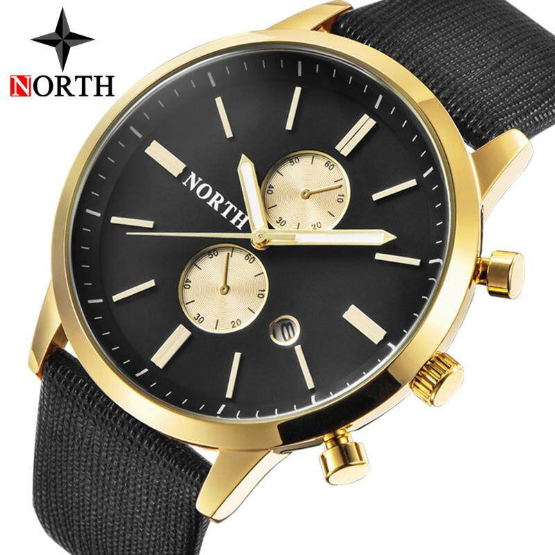 NORTH Mens Watches Top Brand Luxury Quartz Gold Watch Men Casual Leather Military Waterproof Sport Wrist Watch Malaysia