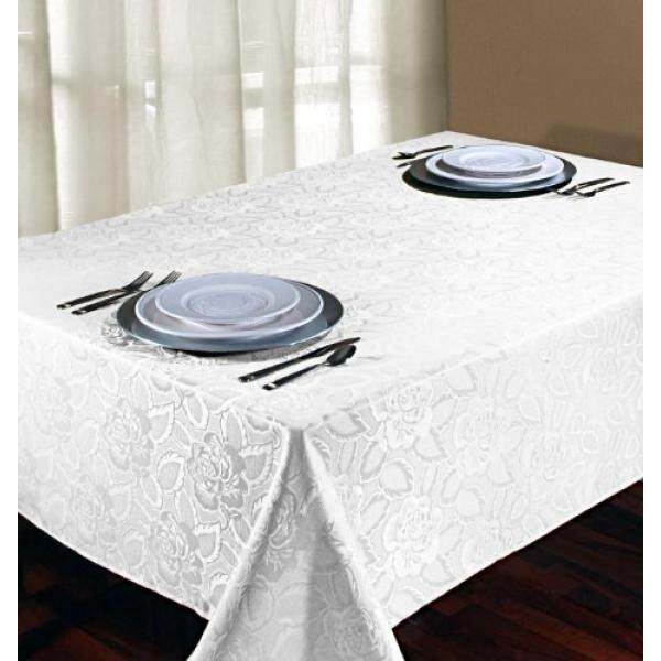 Regal Home Collections Laura Rose Damask Oblong Tablecloth, 60-Inch Wide by 102-Inch Long, White