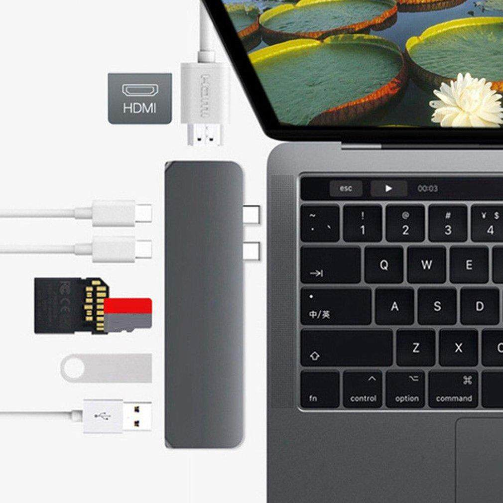 Features Meval Hub7 7 In 1 Dual Usb C Hub Adapter Multiport Type To Hdmi Macbook Pro 30 Detail Gambar 4k Sd Tf Card Reader 2 Ports For