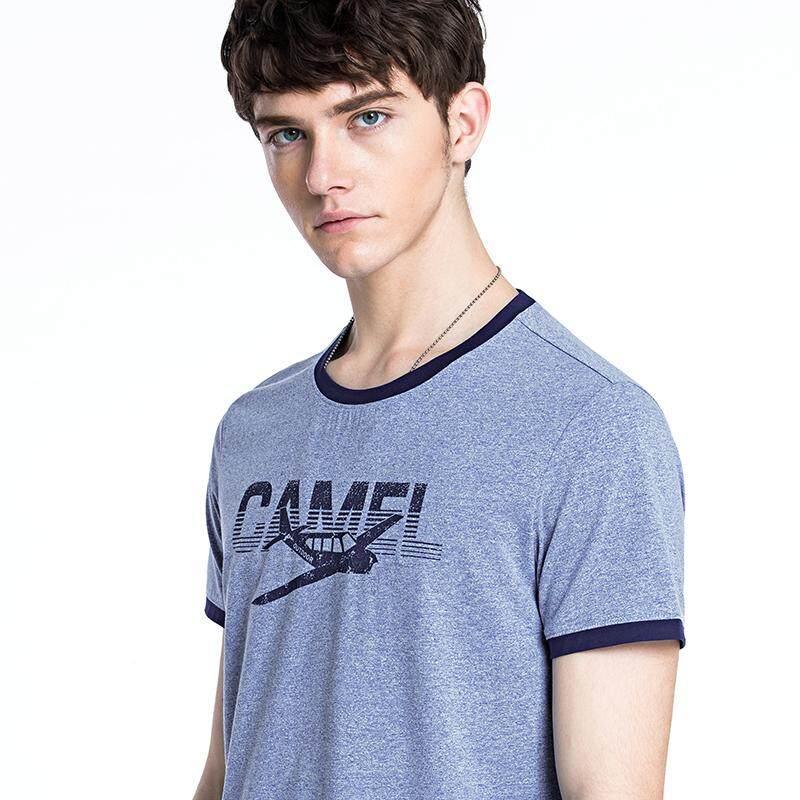 Detail Gambar Unta Pria Leher Bulat Cetakan Huruf Ramping Kemeja Pria  Pemuda Kasual Lengan Pendek T-shirt Terbaru 1088efb8b8