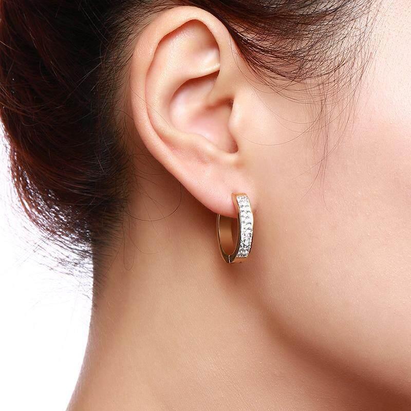 Stainless Steel Round Small Circle Rhinestone Hoop Earrings For Women Fashion Loop Ear Jewelry