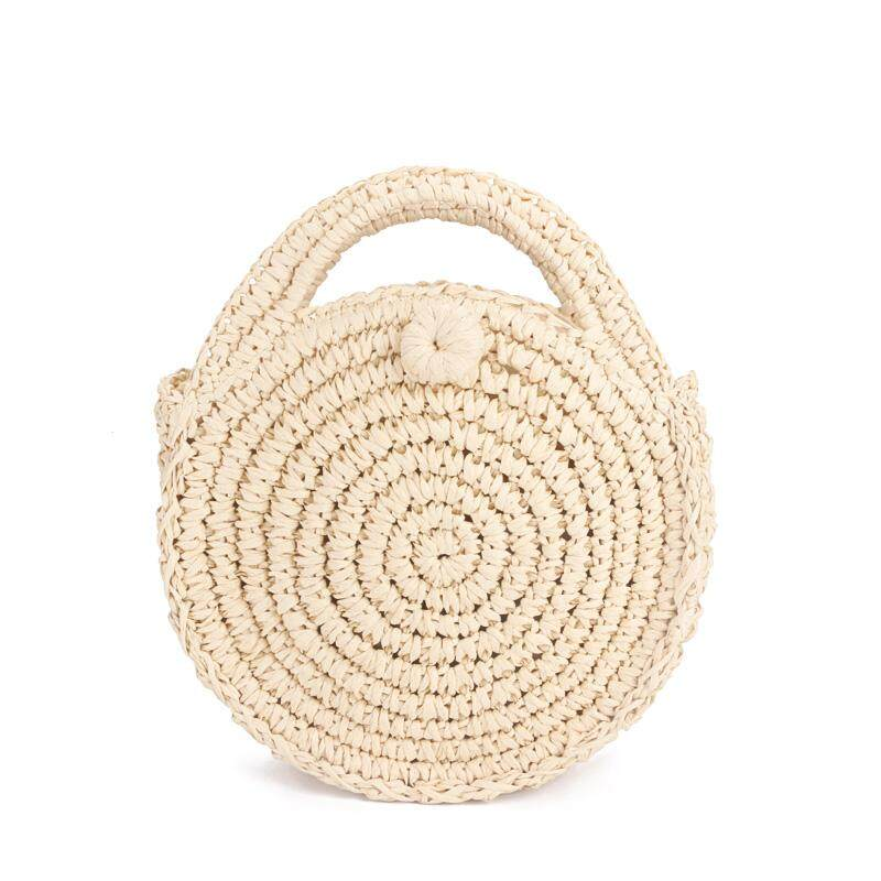 กระเป๋าถือ นักเรียน ผู้หญิง วัยรุ่น สุโขทัย Round Paper rope Beach Bag Summer mini Vintage Handmade Crossbody Leather Bag Girls Circle Rattan bag Small Bohemian Shoulder bag Beige    intl
