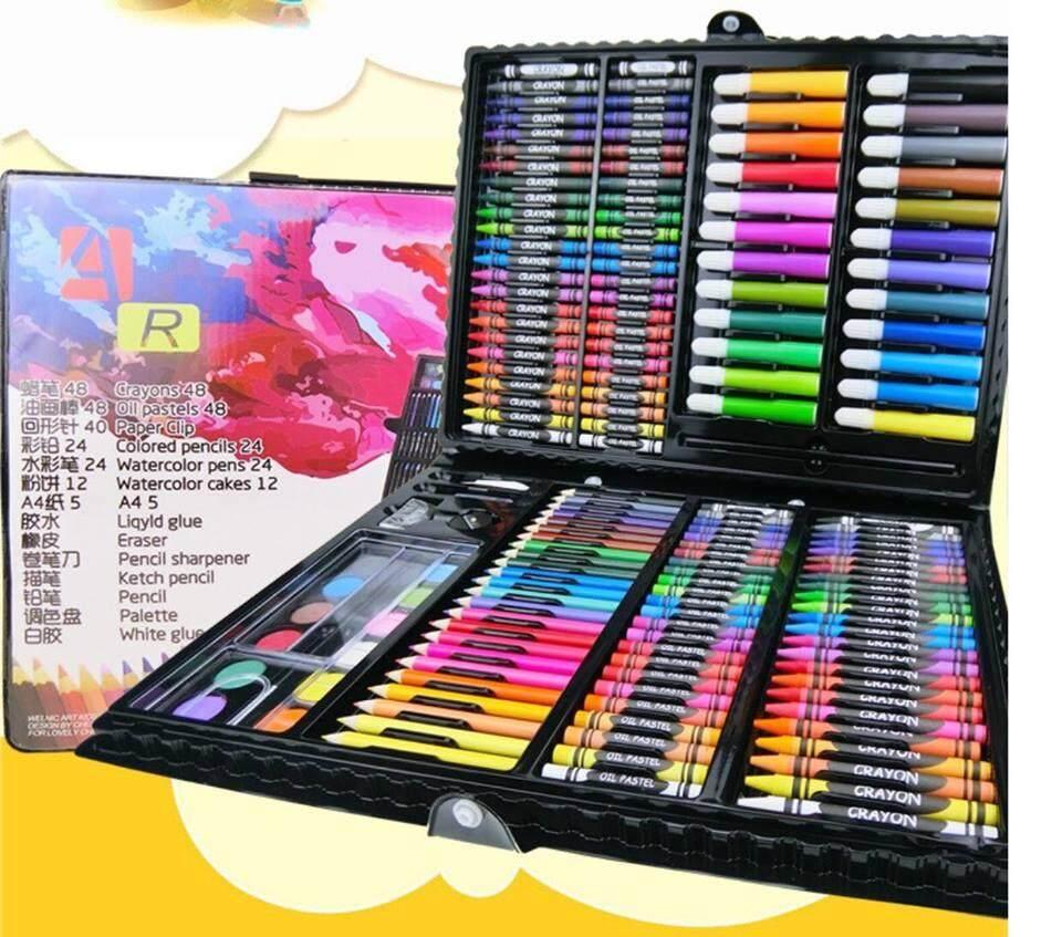 208pcs Kids Drawing Art Set Painting Pen Colour Pencils with Case
