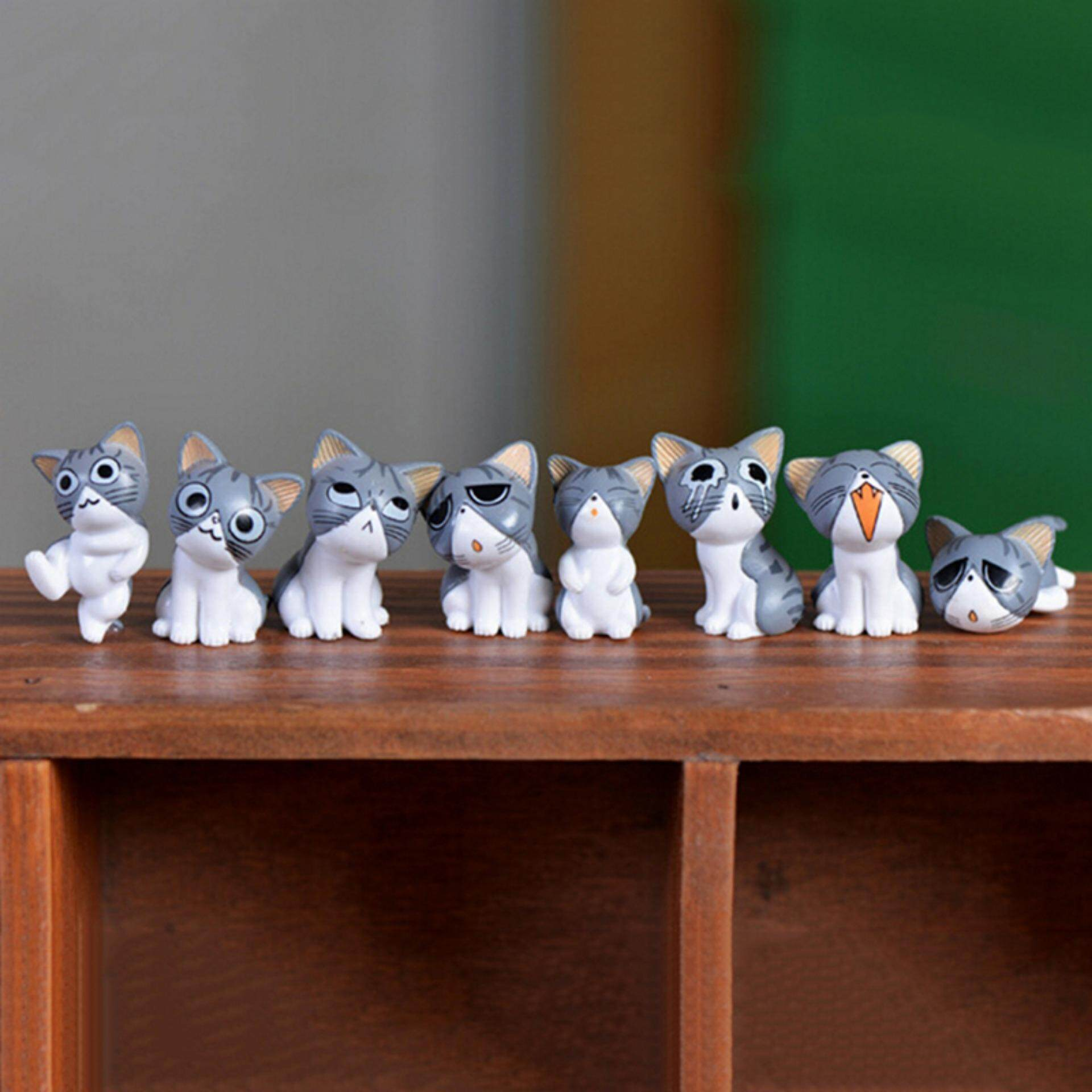8 Pcs Kawaii Cheese Cats Kitty Statue Miniatures Resin Kitten Cat Figurines Mini Garden Figures Decoration For Home Kids Toys - Intl.