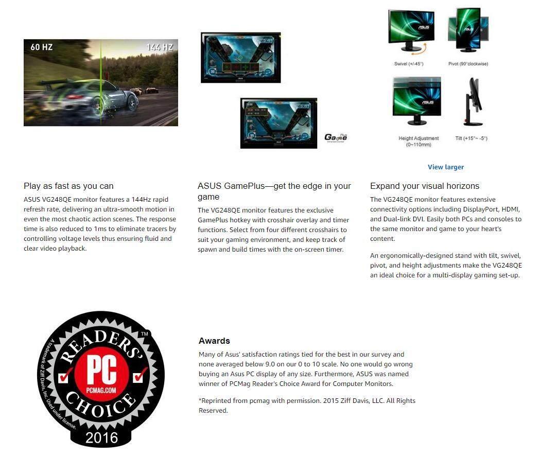 ASUS LCD MONITOR LED GAMING FLAT FHD 24 VG248QE (1MS/DVI/HDMI/DP/SPK/144Hz)  BLACK Malaysia