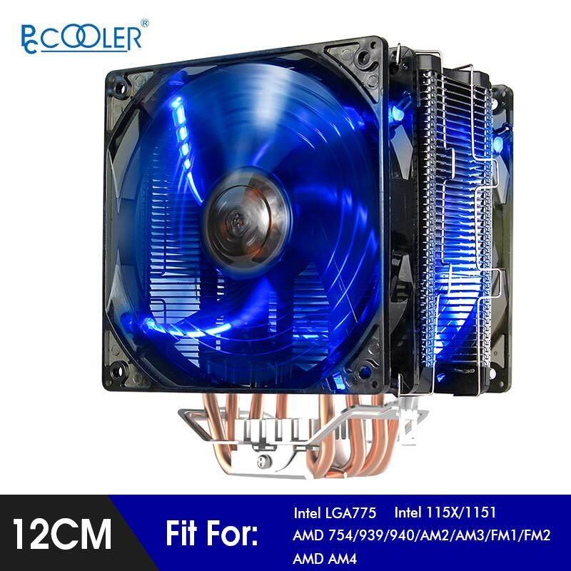 【Free Vận Chuyển + Đèn Flash Deal】PcCooler X6 Êm 12 CM 5 Heatpipes 4Pin PWM CPU Đôi Quạt ĐÈN LED Màu Xanh Dương Tản Nhiệt cho Intel 775 115x AMD AM4