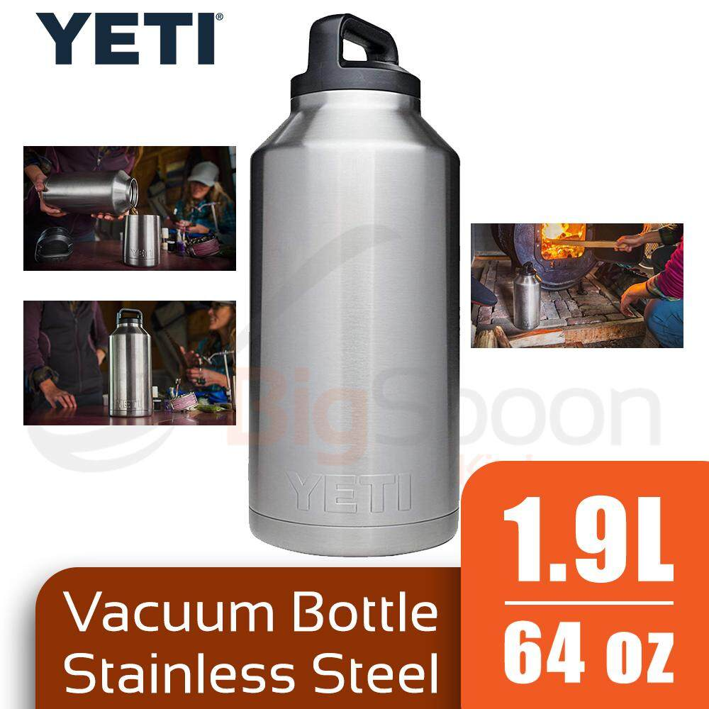 YETI Rambler Vacuum Bottle 1.9L Stainless Steel Double Wall Insulated Leak-Proof Rust-Resistant BPA Free For Warm and Cold Drinks