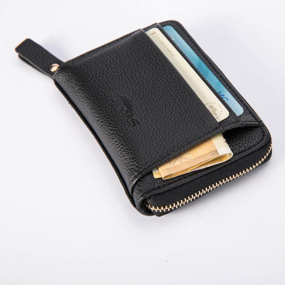 Leather Men Business Wallet Vintage Purse High Quality ID Credit Card Pockets BK - intl
