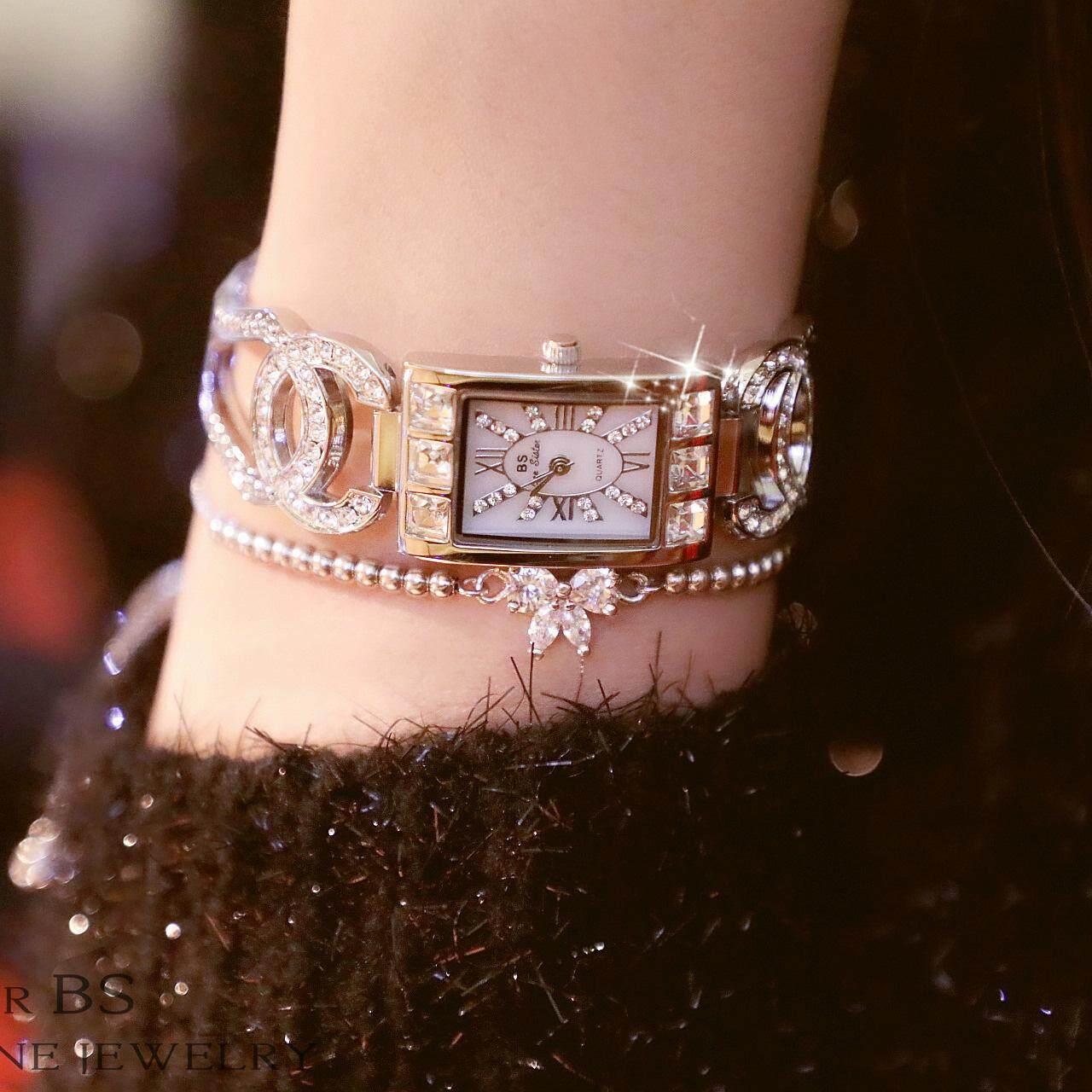 BS new watch high-end bracelet watch full diamond ladies watch luxury watch square watch+Gift Box Malaysia