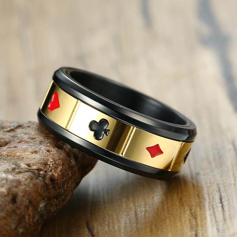 Kemstone Kepribadian Berlapis Emas Warna Hitam Titanium Baja Kartu Bermain Cincin untuk Pria - 4