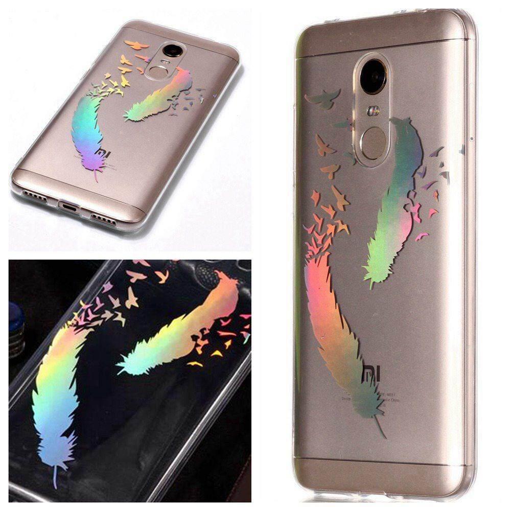 Untuk Xiaomi Redmi 5 Plus Bening Lembut Gradien Pola TPU Redam Kejut Transparan Laser Sampul Ramping