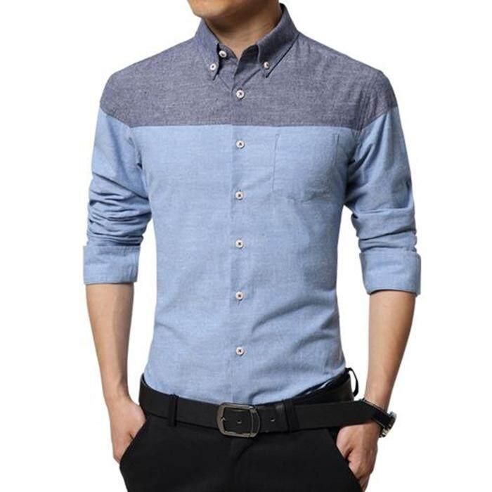 Men Cotton Dress Shirts Long Sleeve Business Shirt Slim Fit Flannel Casual  Male Stripe Famous Brand 0d3f94f8d300