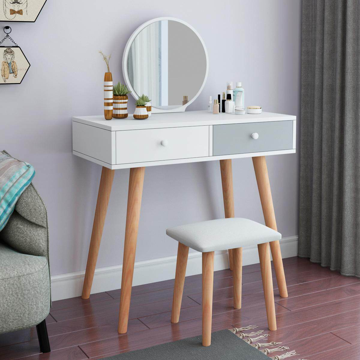 Dressing Table Solid Wood European Bedroom Dressing Table with Stool, Princess Makeup Cabinet Luxury flip Small Dressing Table. Doubel Drawer