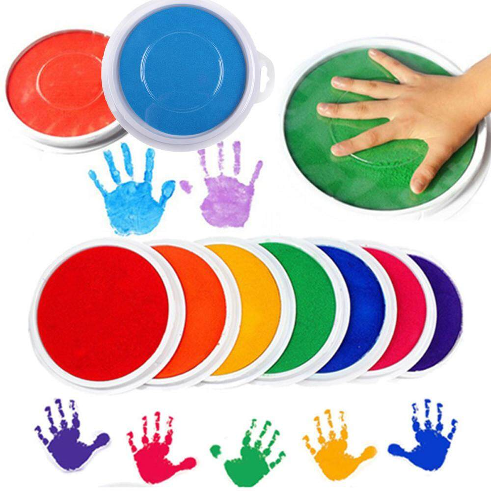 MyAnswer Colors DIY Ink Pad Stamp Finger Painting Craft Cardmaking Large Round For Kids Free shipping