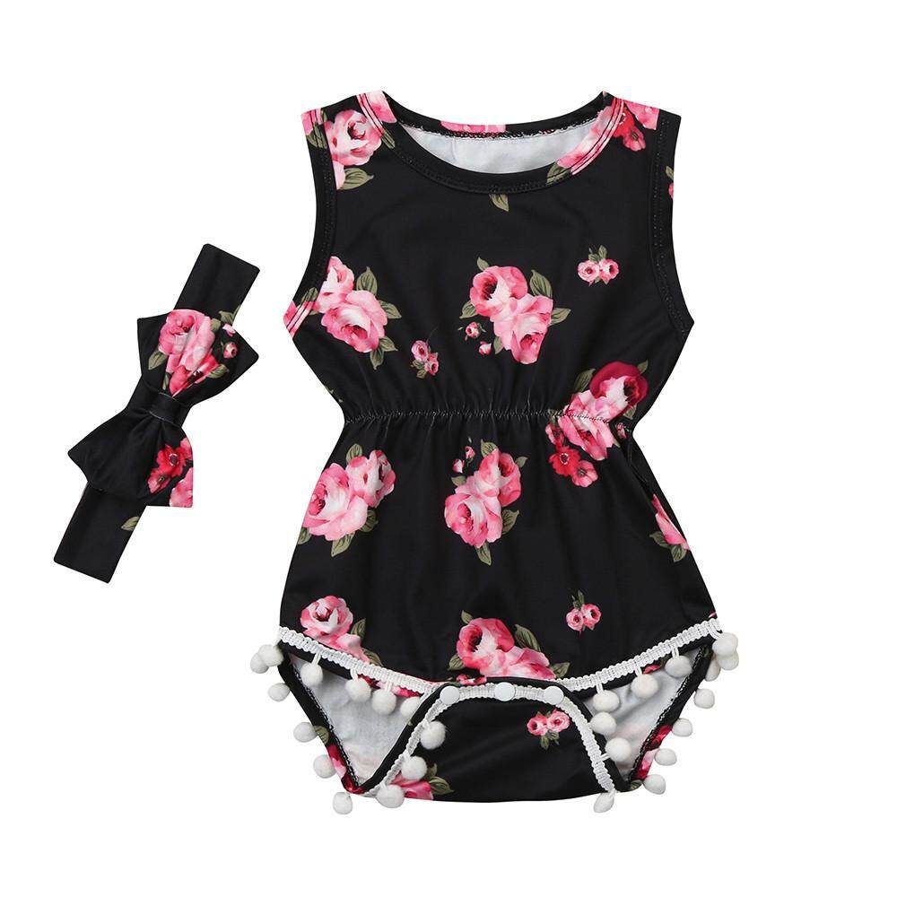1a5fe24b6532 2Pcs Baby Girls Infant Floral Tassel Jumpsuit Romper+Headband Set Clothes