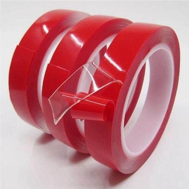 Hk 2 ม้วนโปร่งใสไม่มีร่องรอยสติกเกอร์สีแดงกาวสองหน้าเทปความแข็งแรงสูงเจลอะคริลิคสำหรับรถ Auto ภายในคงที่ 15 มิลลิเมตร * 3 เมตร * 1 มิลลิเมตร By Yanstore.