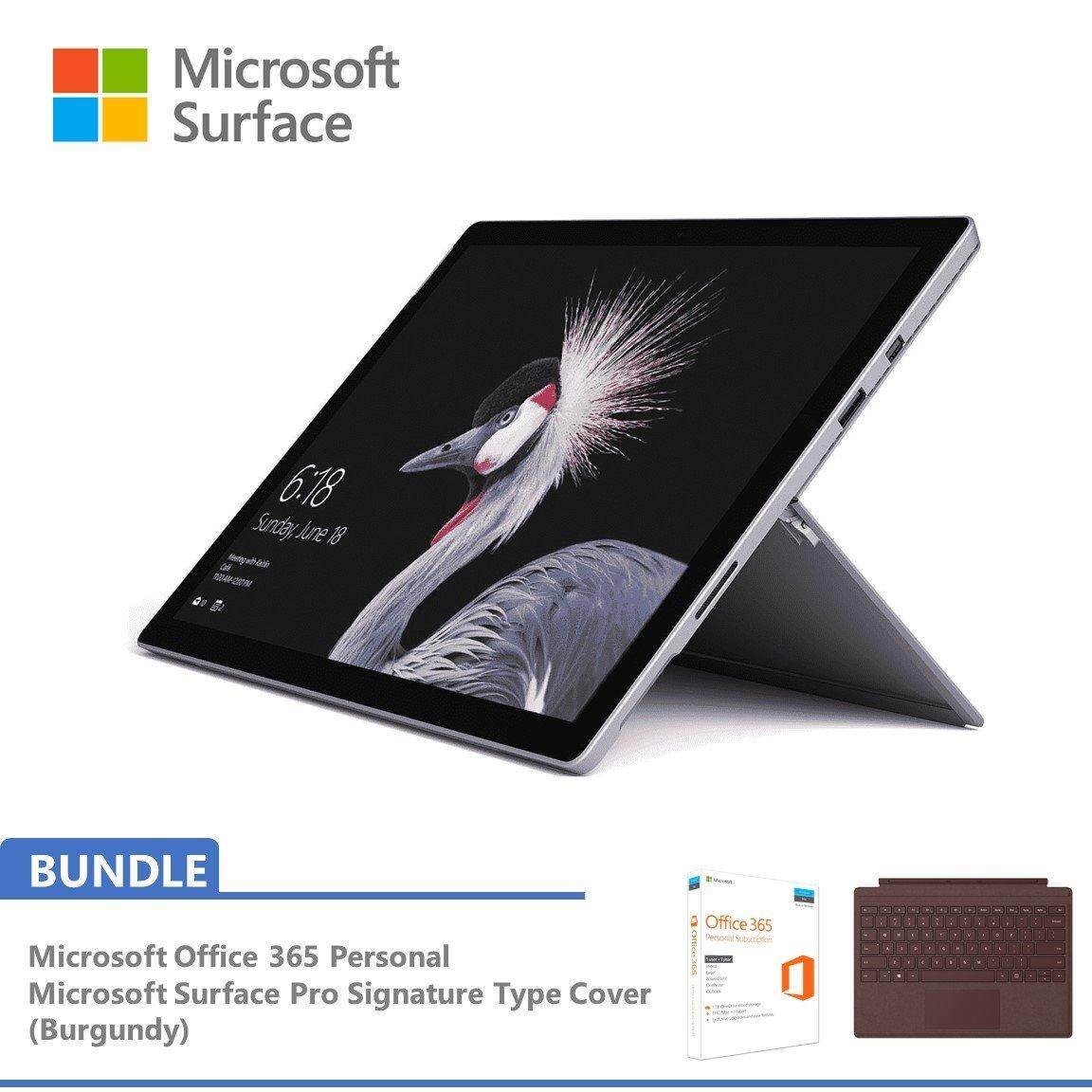 Microsoft New Surface Pro i5 256GB SSD / 8GB RAM Bundle with Signature Pro Type Cover Burgundy + FREE Office 365 Personal Malaysia