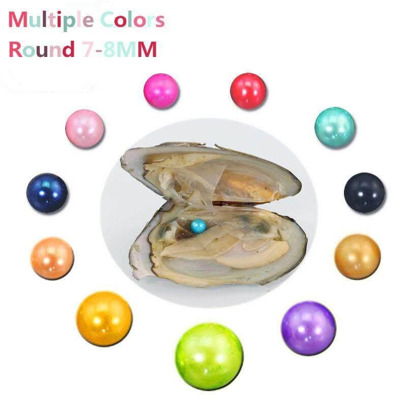 Mutiara Dalam Tiram 7-8 Mm Lingkaran Mutiara Di Shell dengan 17 Warna AAA Mutiara Perhiasan Manik DIY Oleh Vakum Dikemas Grosir (Banyak Warna) (1 Pc Acak Warna)-Intl