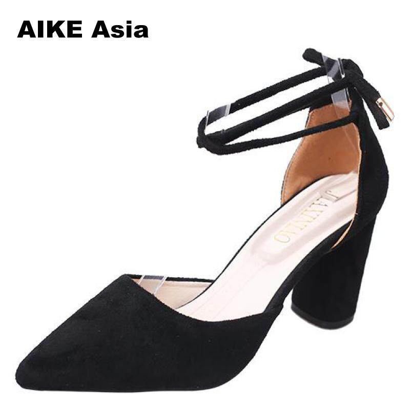 2018 Summer Women Shoes Pointed Toe Pumps Dress Shoes High Heels Boat Wedding Shoes Tenis Feminino Side With Cross-tied 80-1